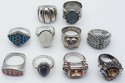 Lot of 10 Sterling Silver Lady Rings - Mixed Design & Sizes #03