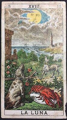 The Moon 19th Century Historic Antique Tarot Playing Cards Italian Rare Single