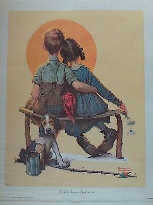 Norman Rockwell 1972 litho on canvas 'The Little Spooners'