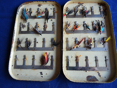 Very Early 40 Clip Hardy Salmon Fly Box + A Few Vintage Flies
