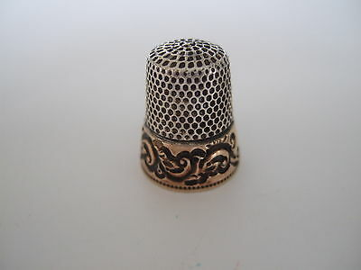 Antique Sterling and 14K Gold Ketcham and McDougall Thimble - Size 6
