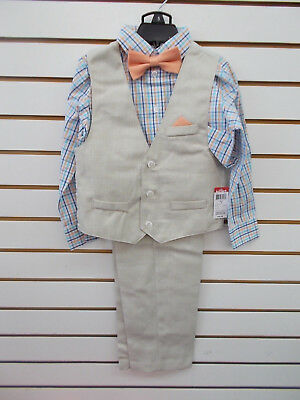 Boys Holiday Editions $34.99 - $39.99 4pc Beige & Coral Vest Suit Size 5 - 12