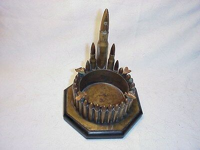 "Vintage WW2 Trench Art Bullet/brass shells Ashtray  5""W x 6""H"