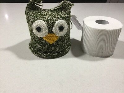Retro/vintage Design, Quirky Owl Toilet Roll Cover, Hand Knitted, New