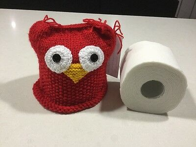 Quirky Red Owl Vintage/Retro Style,Toilet Roll Cover, Hand Knitted, New