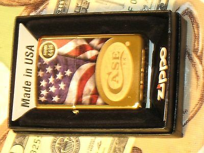 Case XX Oval with Flag HP Brass NEW Genuine ZIPPO Lighter Windproof Knives USA O