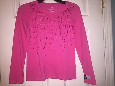 NWT Girls Pink Long Sleeve Faded Glory Longh Sleeve Shirt, Size L