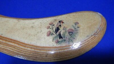 1896 hand made wooden boomerang signed decoupaged ends unusual one of a kind