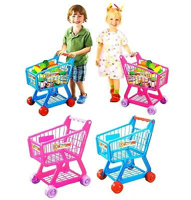 Kids Childrens Shopping Trolley Cart Role Play Set Toy Fruit Food Supermarket