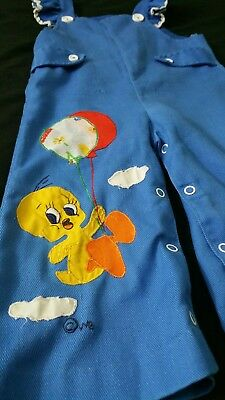 Vintage Children's ~18-24 month Blue Snap Button TWEETY Overall Pants