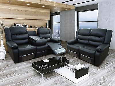 New Valencia Luxury Black Bonded Leather Recliner Sofa With Drinks Holder