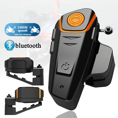 BT Bluetooth 1000M Interphone Motorcycle Helmet Intercom Headset FM Radio