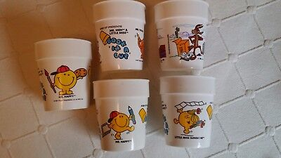 Vintage Arby's Mr. Men, Little Miss,  and Looney Tune Cups - 5 qty.