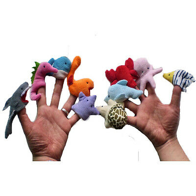10 Pcs Ocean sea Animals Finger Puppets Baby Girl Boy game toys Soft Plush Toy