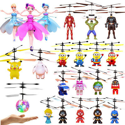 Induction Flying Aircraft Helicopter Fly RC Ball Minion Spiderman Toy Kids Gift