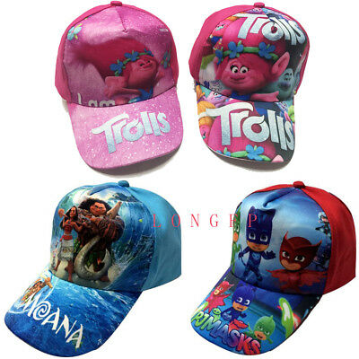 Trolls/Moana Kids Canvas Adjustable Sun Baseball Cap Hats Fancy Dress A