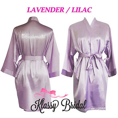 Bride Bridesmaid Robes Satin Silk Gown Wedding Lavender Lilac Personalised