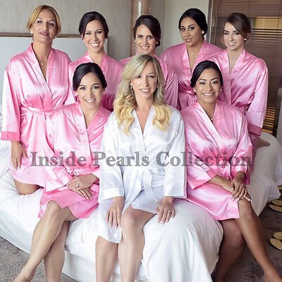 PINK Bride Bridesmaid Robes Bridal Wedding Dressing Gowns Satin Personalised