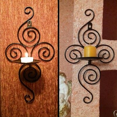 Iron Scroll Candle Holder Candlestick Wall Hanging Sconce Home Wedding Decoraton