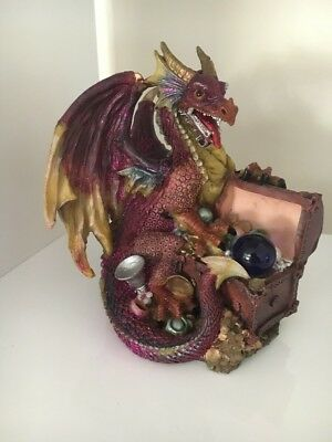Mythical Creatures Dragon Ornament Purple Resin 14 Cm High