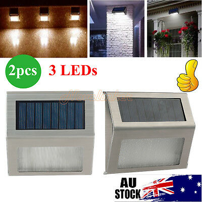 2x Stainless Steel Solar Power 3LED Garden Outdoor Wall  Light Lamp Waterproof