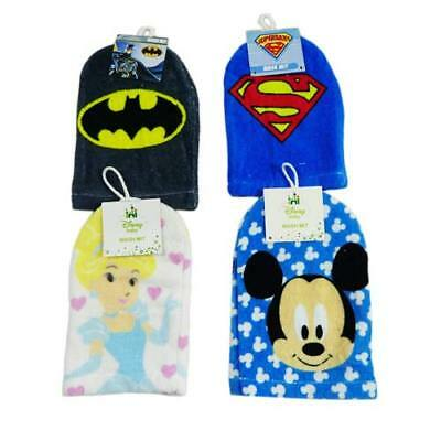 New Disney Mickey Mouse Cinderella, Superman Soft Baby Face Washer Hand Wash Mit