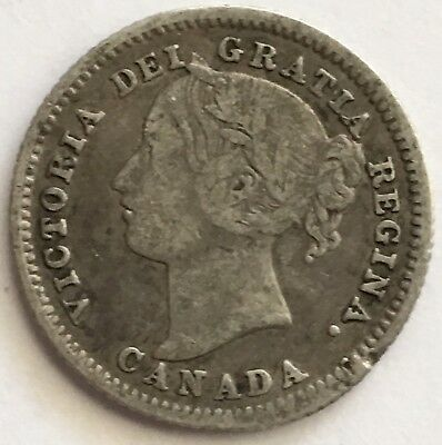 1886 Canada 10 Cents .925 Silver Coin LARGE KNOB 6 KM#3 (L457)