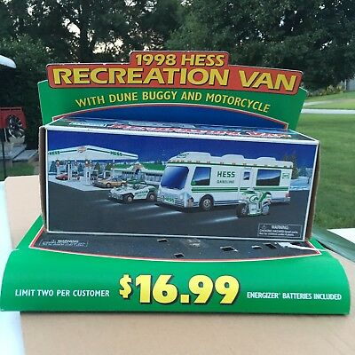 Hess 1998 Recreation Van, Motorcycle and Dune Buggy With Display Stand