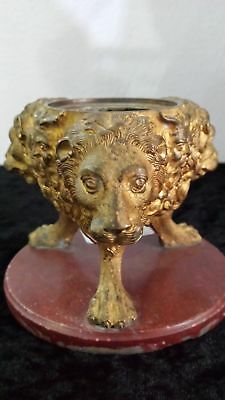Rare 19th-century-ormolu-inkwell-with-lions-mask-on-a-marble-base-3-high-75mm
