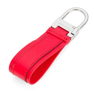 NEW Fedon Nappa Snap Hook Keyring Red
