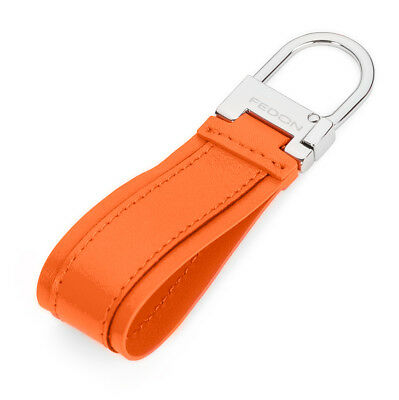 NEW Fedon Nappa Snap Hook Keyring Orange