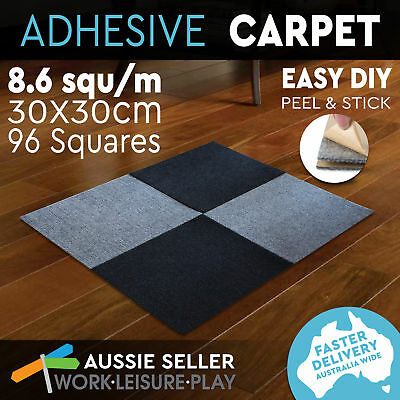 Pack of 96 Modular Self-Adhesive Carpet Tiles Peel Stick Rugs 30x30cm