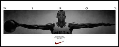Michael Jordan Wings with one Basketball Sport Art silk poster print  60x150 cm
