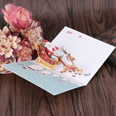 Handmade 3D Pop Up Merry Christmas Xmas New Year Gift Greeting Holiday Cards