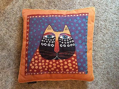 Laurel Burch Polka Dot Cat  Throw Pillow Folk Art Orange Tapestry 18 inch Square