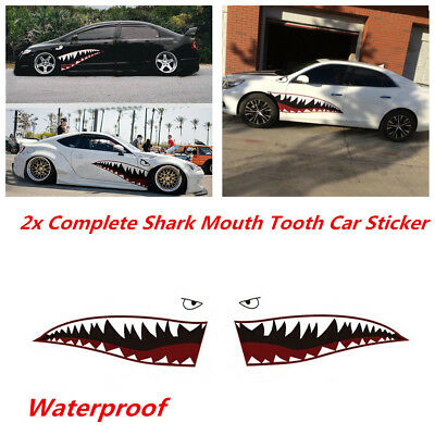 2x 59'' Shark Mouth Teeth Vinyl Sticker Exterior Decal For Side Door Car Styling