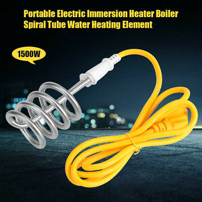 1500W 220V Electric Immersion Heater Boiler Water Heating Element For Travel SS
