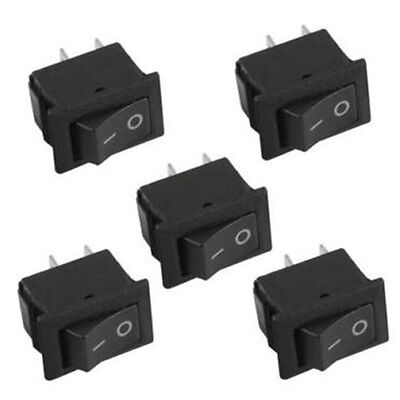 5X SPST On/Off Black Square I/O Rocker Switch Mini Small 12V Automotive/Car/Boat