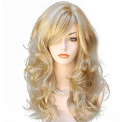 Fashion Cosplay Party Wavy Blonde Mix Middle Long Curly Hair Ladies Womens Wigs