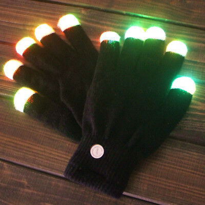 Pair LED Rave Xmas Club Flashing Gloves Glow 7 Mode Light Up Finger Tip Lighting