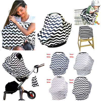 Mum Breastfeeding Nursing Cover Up Baby Poncho Shawl Udder Blanket Stripes Cloth