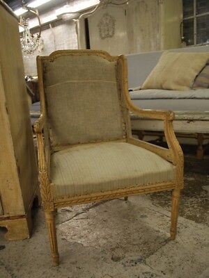 Beautiful Pair Of French Wingback Deconstructed Chairs, Pretty, Petit, Rare