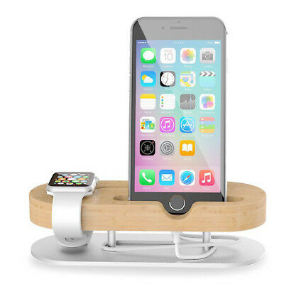 Apple Watch Stand Aluminum Base, Phone Stand,Bamboo Wood Stand Charging Dock
