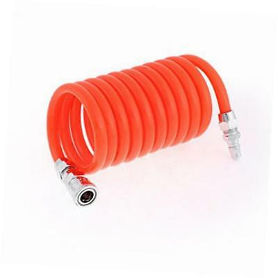 3 Meters Long 12mm x 8mm Polyurethane Coiled Air Hose Pipe Orange