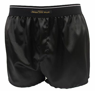 Men's Super soft shiny SATIN boxer shorts sexy BLACK Made in France by PJW