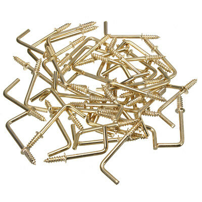 50Pcs/Pack L Shaped Brass Plated Screw In Shouldered Dresser Cup Hooks Hangers