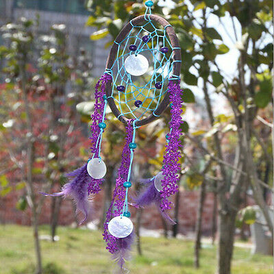 Purple Handmade Feather Dream Catcher Car Wall Hanging Decoration Ornament