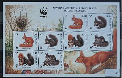 S0 0341 WWF Animals Slovenia MNH 2007 Red Squirrel