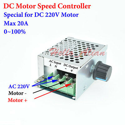 DC220V 20A DC Motor Speed Controller Speed Control Regulator Switch AC220V Input