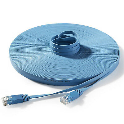 FLAT Cat6 RJ45 Internet Ethernet Network Cable LAN Patch Lead GIGABIT Blue Lot